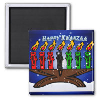 Kwanzaa Candle Kinara with Snow And Greeting Magnet