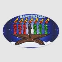 Kwanzaa Candle Kinara with Snow And Greeting Oval Sticker