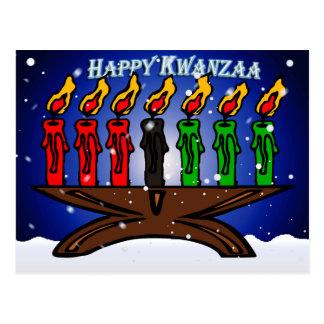 Kwanzaa Candle Kinara with Snow And Greeting Postcard