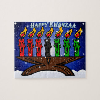 Kwanzaa Candle Kinara with Snow And Greeting Puzzle