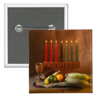 Kwanzaa Candles and Food 2 Inch Square Button