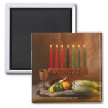 Kwanzaa Candles and Food 2 Inch Square Magnet