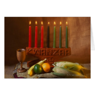Kwanzaa candles and food greeting card