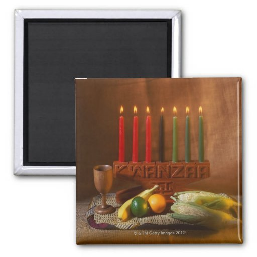 Kwanzaa Candles and Food Refrigerator Magnets
