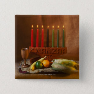 Kwanzaa Candles and Food Pinback Button