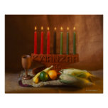 Kwanzaa Candles and Food Poster