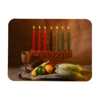 Kwanzaa candles and food rectangular photo magnet