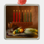 Kwanzaa Candles and Food Square Metal Christmas Ornament
