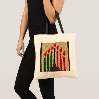 Kwanzaa Candles Brown Red Black Green Crochet Tote Bag