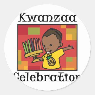 Kwanzaa Celebration boy Classic Round Sticker
