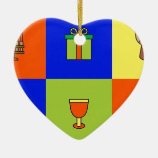kwanzaa colorblock ceramic ornament