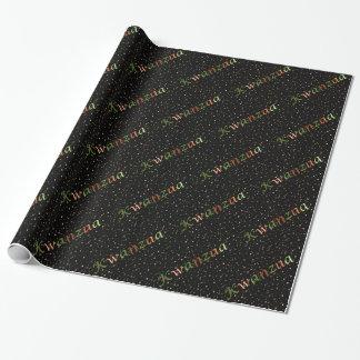 Kwanzaa Colors Golden Mini Stars Wrapping Paper