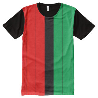 Kwanzaa Colors Red Black Green Stripes Pattern All-Over-Print T-Shirt