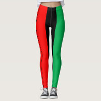 Kwanzaa Colors Red Black Green Stripes Pattern Leggings