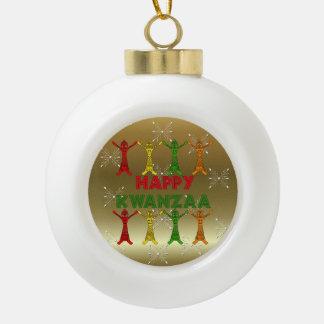 Kwanzaa Dancers Ceramic Ball Christmas Ornament