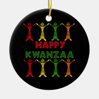 Kwanzaa Dancers Double-Sided Ceramic Round Christmas Ornament