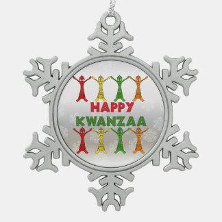 Kwanzaa Dancers Snowflake Pewter Christmas Ornament