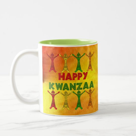 Kwanzaa Dancers Two-Tone Coffee Mug