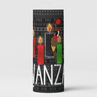 Kwanzaa Dancers with Green Red and Black Pillar Candle