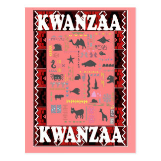 Kwanzaa - Favourite animals pink Postcard