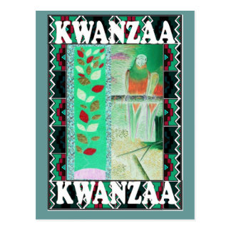 Kwanzaa - Flowers and a parrot Postcard