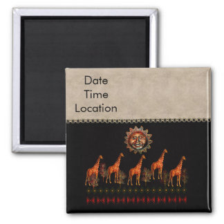 Kwanzaa Giraffes 2 Inch Square Magnet