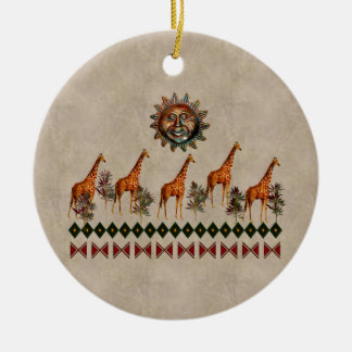 Kwanzaa Giraffes Ceramic Ornament