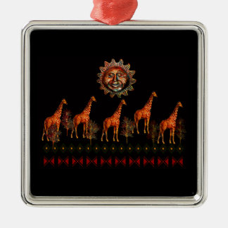 Kwanzaa Giraffes Metal Ornament