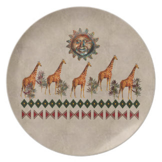 Kwanzaa Giraffes Dinner Plates