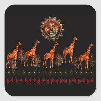Kwanzaa Giraffes Square Sticker
