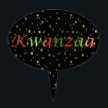 "Kwanzaa Golden Stars Black Red Oval Cake Topper<br><div class=""desc"">This oval cake topper has the expression: ""Kwanzaa"" in green and red letters on a black and golden stars background. It is a great topper to enjoy your favorite holiday cakes and a nice present for your loved ones too.</div>"