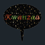 """Kwanzaa Golden Stars Black Red Oval Cake Topper<br><div class=""""desc"""">This oval cake topper has the expression: """"Kwanzaa"""" in green and red letters on a black and golden stars background. It is a great topper to enjoy your favorite holiday cakes and a nice present for your loved ones too.</div>"""