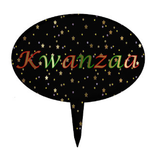 Kwanzaa Golden Stars Black Red Oval Cake Topper