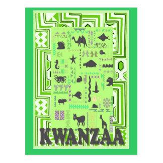 Kwanzaa - Green animals Postcard