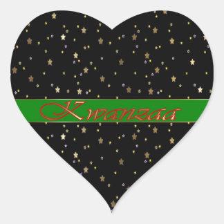 Kwanzaa Green Black Red Golden Stars Heart Sticker