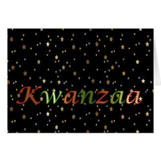 Kwanzaa Green Red Black Golden Stars Greeting Card