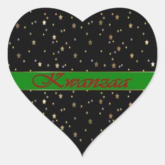 Kwanzaa Green Red Black Golden Stars Heart Sticker