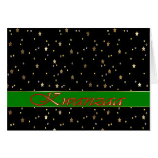Kwanzaa Green Stripe Red Black Golden Stars Card