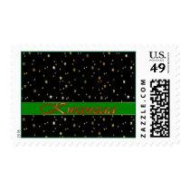 Kwanzaa Green Stripe Red Golden Stars Stamp