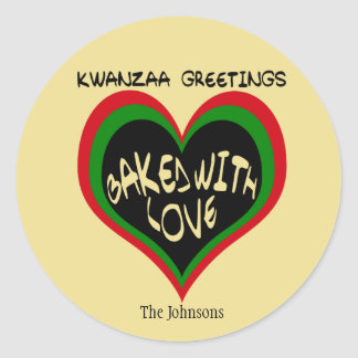Kwanzaa Greetings, Baked with Love Classic Round Sticker