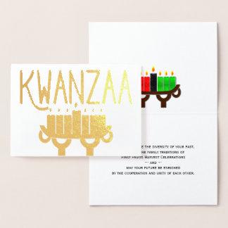 Kwanzaa Kinara Candles and First Fruits Message Foil Card