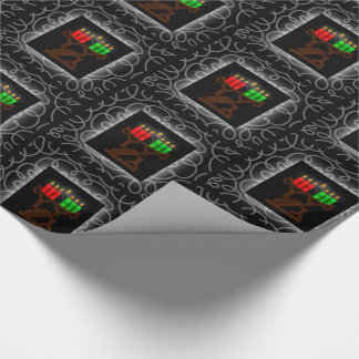Kwanzaa Lit Kinara Candles with Black and Silver Wrapping Paper