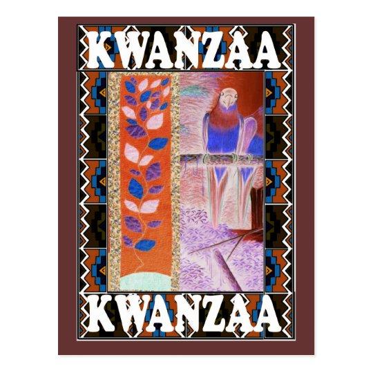 Kwanzaa - orange and brown floral postcard