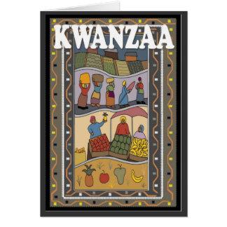 Kwanzaa, parada del mercado tarjeta de felicitación