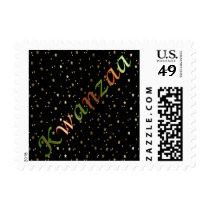 Kwanzaa Red Green Black Golden Stars Small Stamp