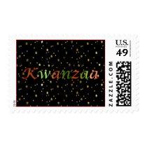Kwanzaa Red Green Golden Stars on Black  Stamp