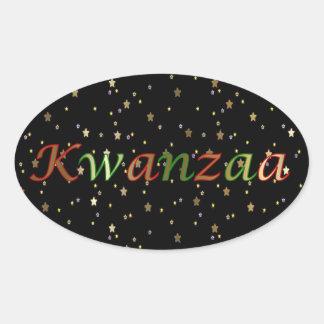 Kwanzaa Red Green Golden Stars Oval Sticker
