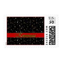 Kwanzaa Red Stripe Golden Stars on Black Stamp