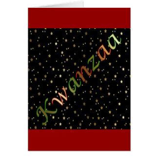 Kwanzaa Red Stripes Green Black Golden Stars Card