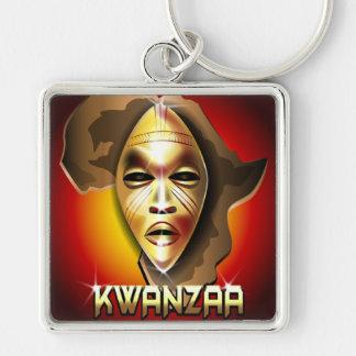 Kwanzaa Silver-Colored Square Keychain